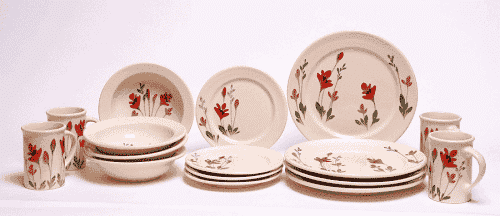 Red Poppy Dinner Set for Four Classic Plates & Red Poppy Dinner Set for Four Classic Plates - Emerson Creek Pottery