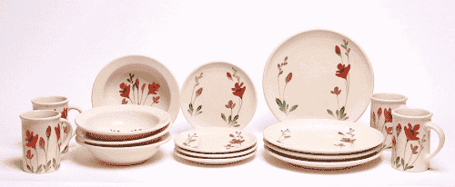 Red Poppy Dinner Set for Four Coupe Plates - Emerson Creek Pottery