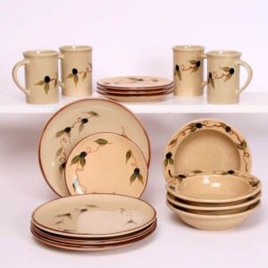 Tuscan Olive Dinner Set for One Classic Plates - Emerson Creek Pottery