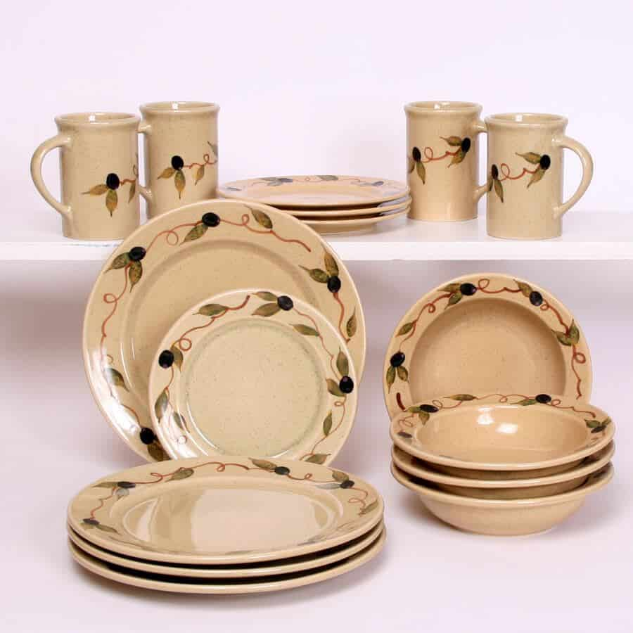 Tuscan Olive Dinner Set ... & Tuscan Olive Dinner Set for Four Classic Plates - Emerson Creek Pottery