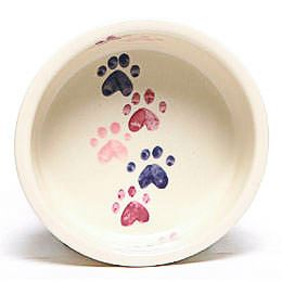 Pink Walking Paws Large Pet Bowl