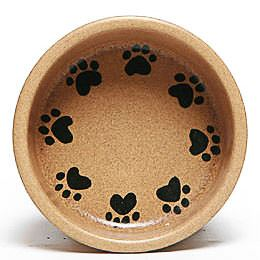 Round Prints Small Go Green Earthware Pet Bowl