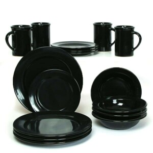Onyx Black Classic Dinner Plate Set for Four