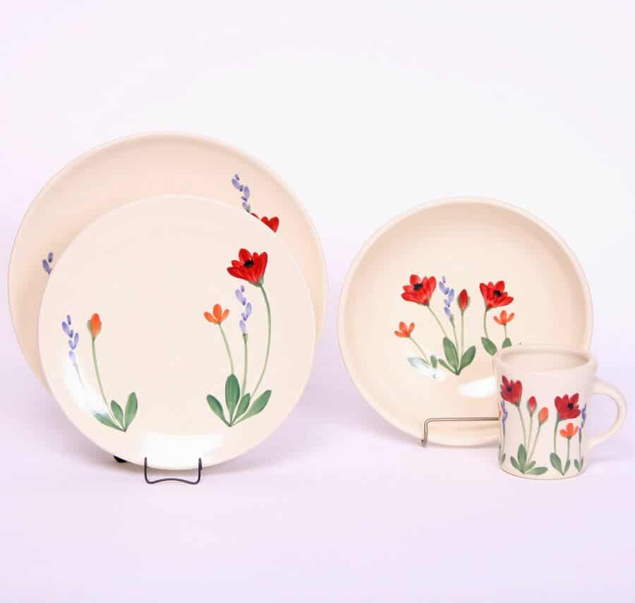 Red Poppy Dinner Set for One Craftline Plates - Emerson Creek Pottery