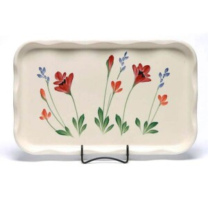 Red Poppy Large Frilly Tray